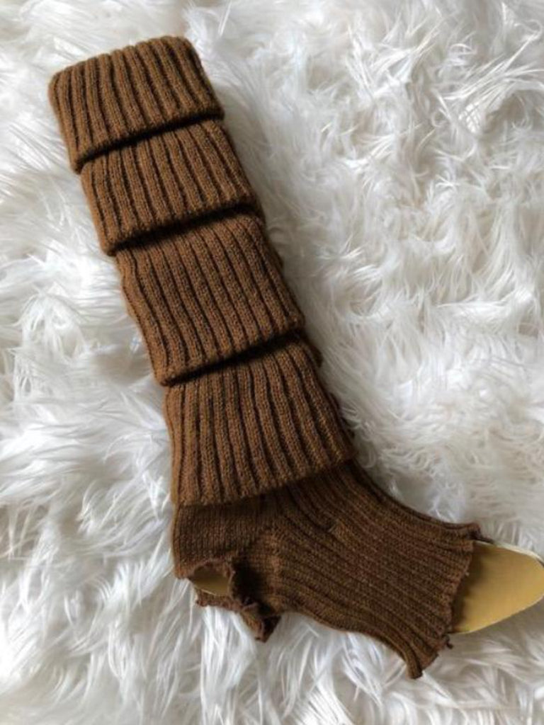 Leg Warmers, Light Brown with heel cut out