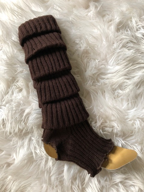 Leg Warmers, Dark Brown with heel cut out