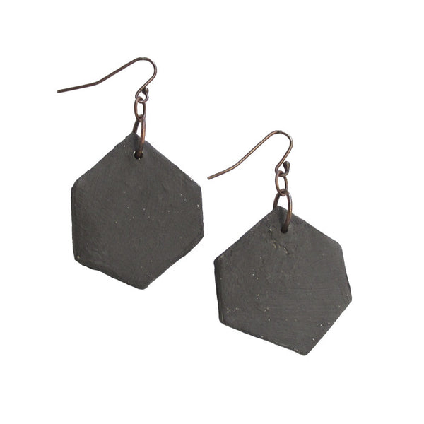 WAYWARD: MATTE BLACK HEXAGON EARRINGS