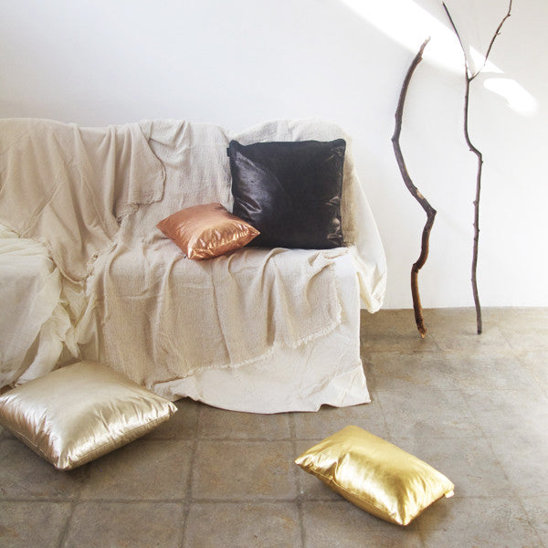 19X19 Leather Throw Pillow - METALLIC GOLD