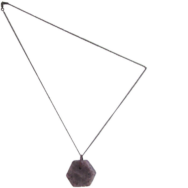 WAYWARD: HEXAGON RAW RUBY NECKLACE - LARGE