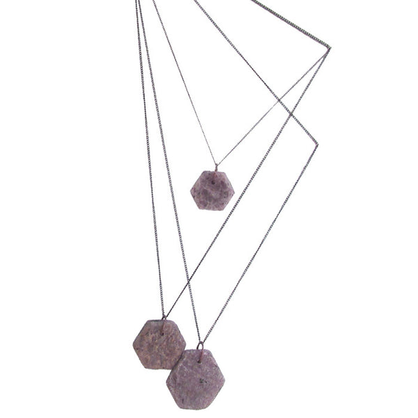 WAYWARD: HEXAGON RAW RUBY NECKLACE - SMALL
