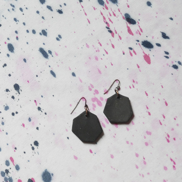 WAYWARD: BLACK CERAMIC HEXAGON EARRINGS