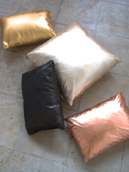 19X19 Leather Throw Pillow - METALLIC SILVER