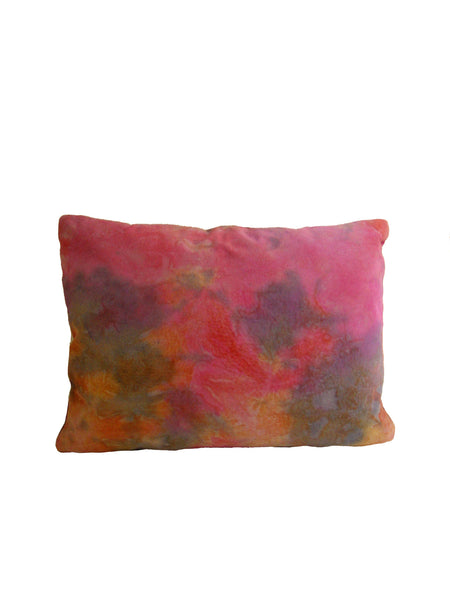 12X16 Leather Throw Pillow - TIE DYE PINK