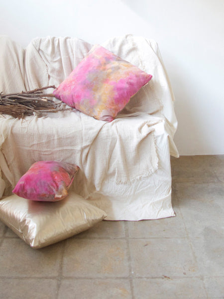 19X19 Leather Throw Pillow - TIE DYE PINK