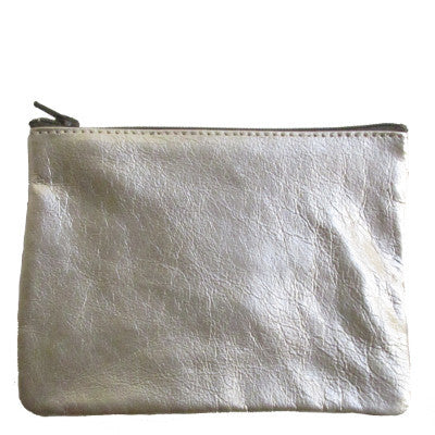 WAYWARD: leather pouch - silver
