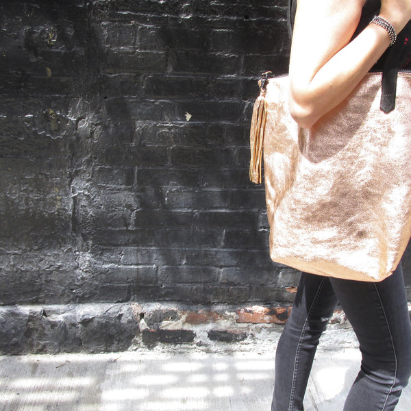 Leather Tote - METALLIC COPPER