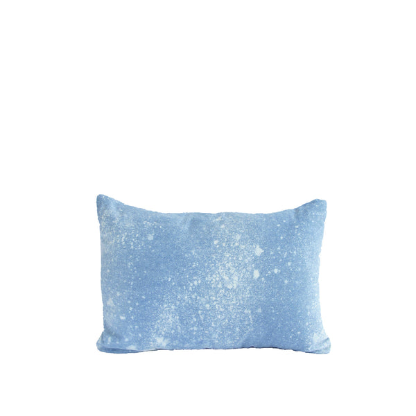 14X20 PRINTED LINEN PILLOW: ACID WASH DENIM PRINT