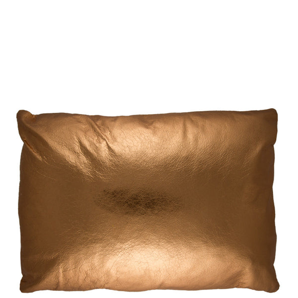 12X16 Leather Throw Pillow - METALLIC COPPER