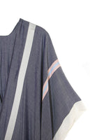 Lightweight Solid Duster Kimono with Long Stripe Print