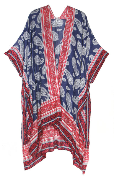 Lightweight Paisley Pattern with Contrast Border Kimono