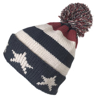 7055 - STRIPES AND STARS BEANIE HAT WITH POM