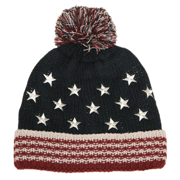 7245 - STRIPES AND STARS BEANIE HAT WITH POM