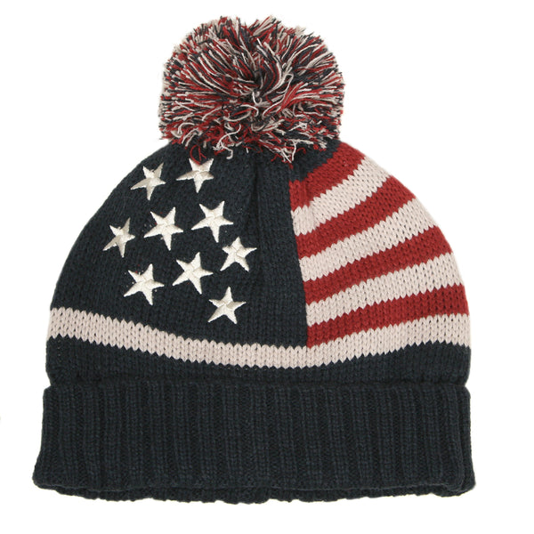 7248 - STRIPES AND STARS BEANIE HAT WITH POM