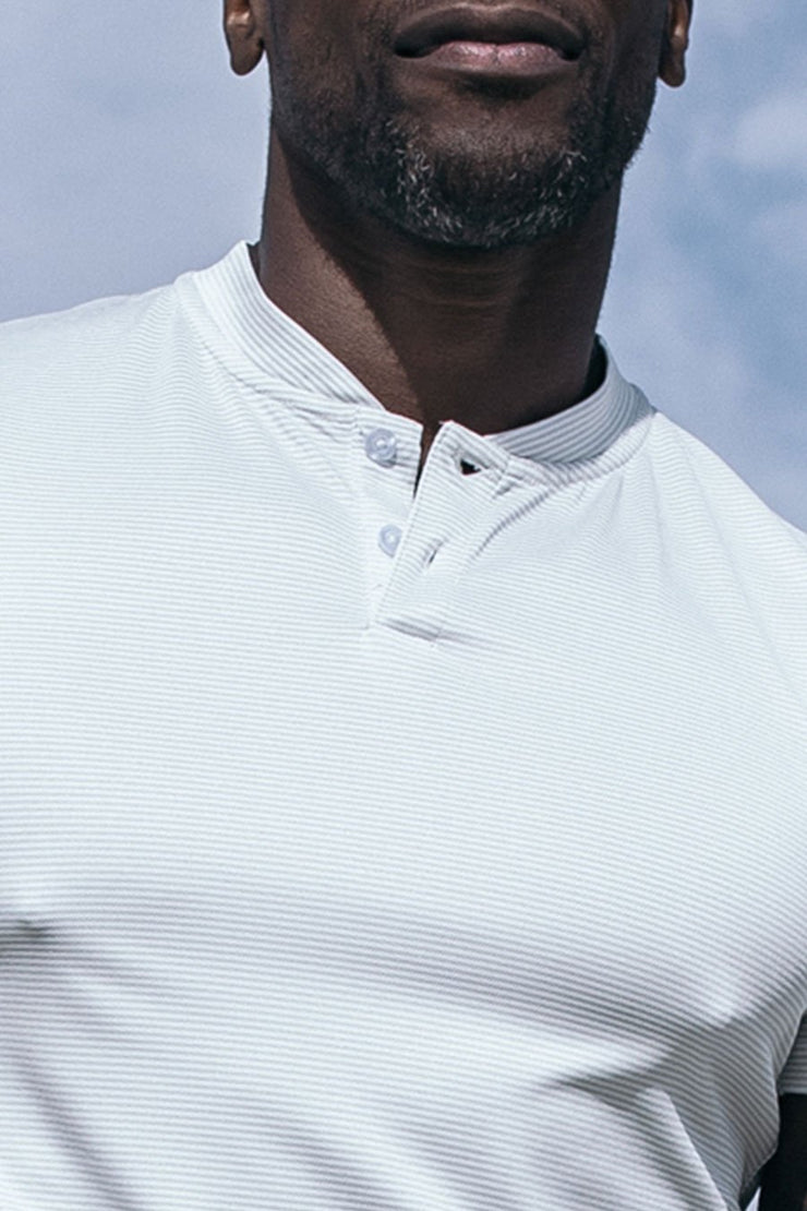 Stealth Polo in White Stripe
