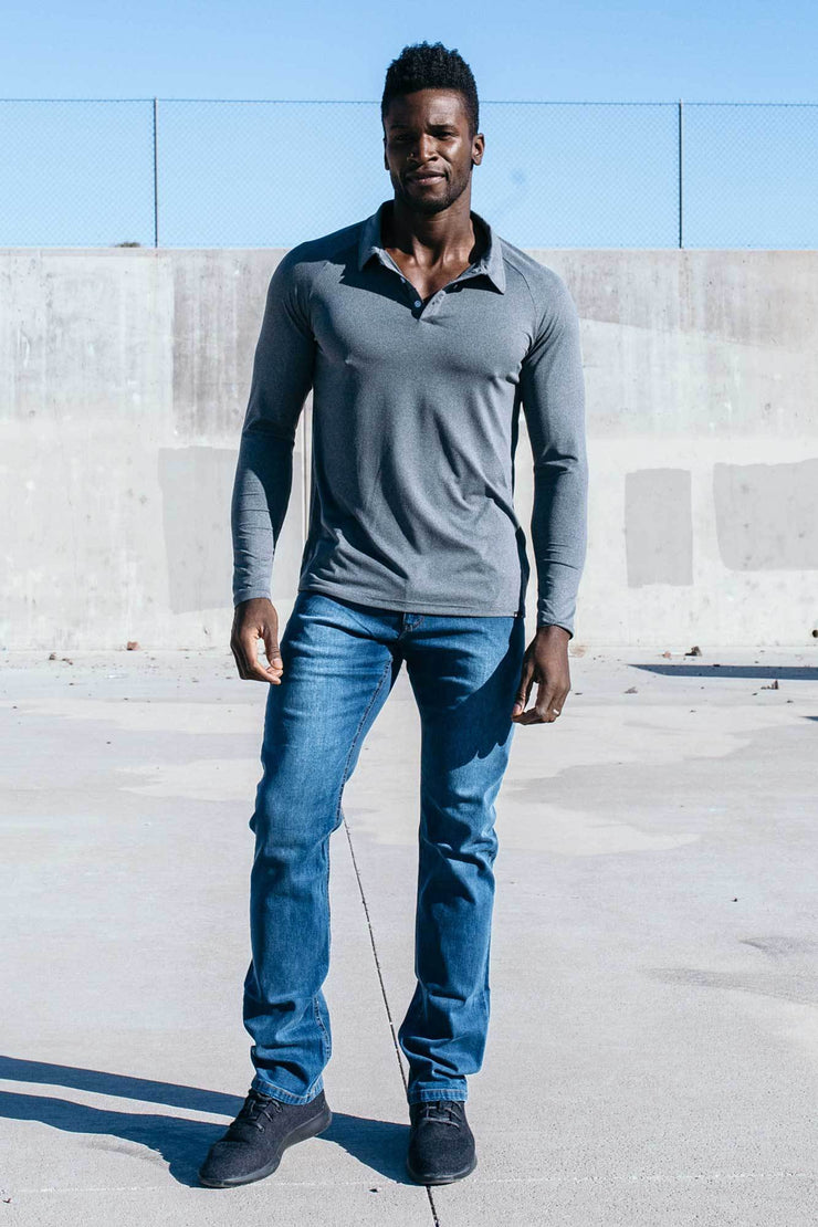 Havok Long Sleeve Polo in Grey