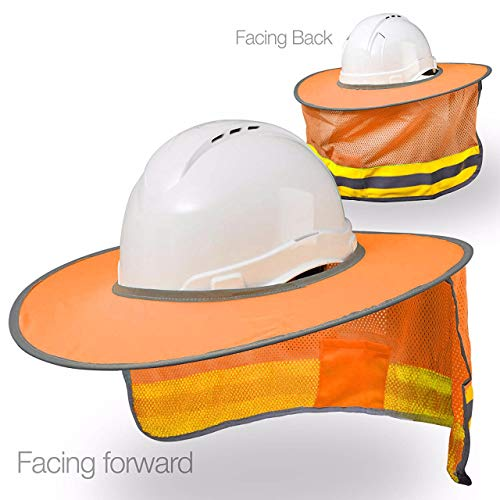Hard Hat Sun Shield Full Brim Mesh Sun Shade Protection (Orange)