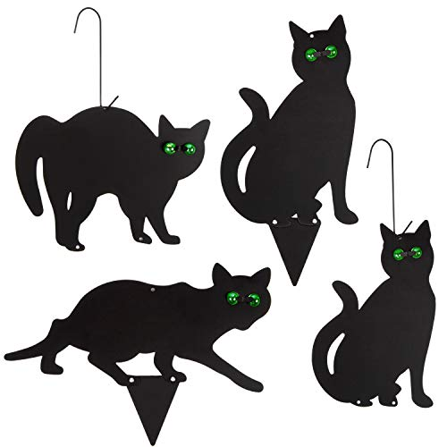 Garden Scare Cats with Reflective Eyes (Set of 4)