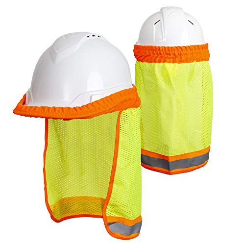 Hard Hat Neck Sun Shade (2 Pack) One Size Fits All - Yellow