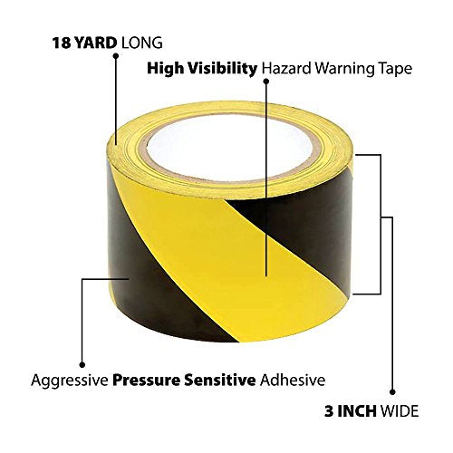 Black and Yellow Stripe Safety Stripe Tape 3in X 18Yds