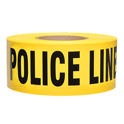 Police Line Do Not Cross Barricade Tape 3 X 1000 Bright Yellow with a bold Black Print for High Visibility 3 in. wide