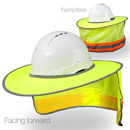 Hard Hat Sun Shield Full Brim Mesh Sun Shade Protection (Yellow Lime)