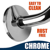 "High Rise Shower Arm with Flange, ""S"" Shaped Shower Head Chrome Extension Arm, 10 inch"