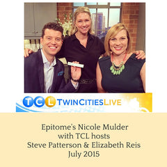 Epitome Skincare's Nicole Mulder with Twin Cities Live hosts Steve Patterson & Elizabeth Reis