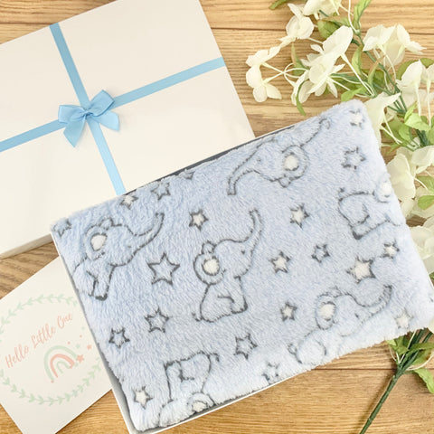 Baby Boy Gifts - Evan Elephant Blanket New Baby Gift Hamper
