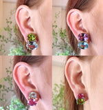 Large GUM DROP™ Earrings with Pink Topaz and Cabochon Smoky Topaz and Diamonds