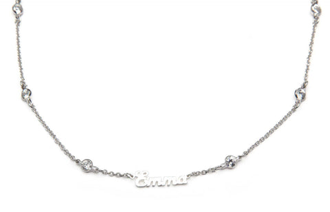 Signature Collection:  Silver Mini Script personalized  necklace on Crystal by the Yard Chain