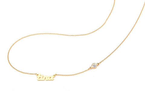 Signature Collection: mini script name necklace with one off set crystal