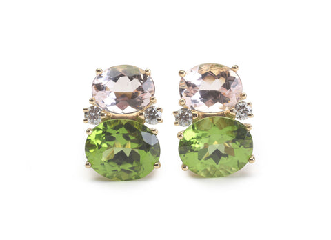 Medium GUM DROP™ Earrings with Kunzite and Peridot and Diamonds