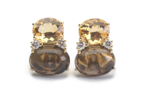 ADELE Large GUM DROP™ Earrings with Citrine and Smokey Topaz and Diamonds