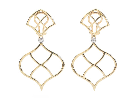18kt Yellow Gold Woven Gold Drop Earrings