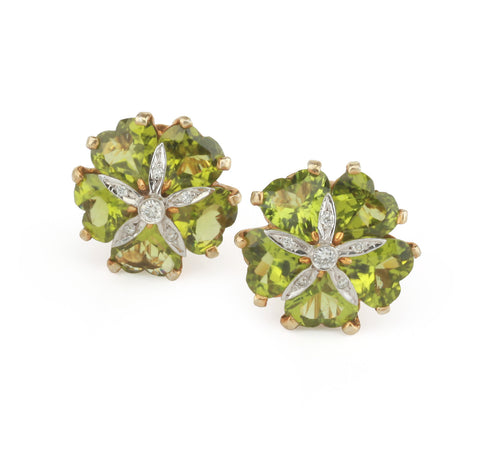18kt Yellow Gold Sand Dollar Earrings with Peridot and Diamonds