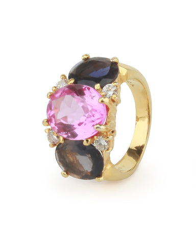 Medium 18kt Yellow Gold Gum Drop Ring with Pink Topaz and Iolite