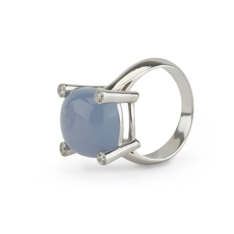 18kt White Gold Small Cushion Ring with Cabochon Chalcedony and Diamonds