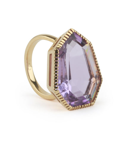 18kt Yellow Gold Byzantine Ring with Amethyst