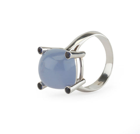 18kt White Gold Small Cushion Ring with Cabochon Chalcedony and Iolite
