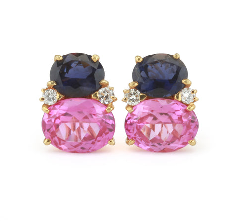 Large GUM DROP™ Earrings with Iolite and Pink Topaz and Diamonds