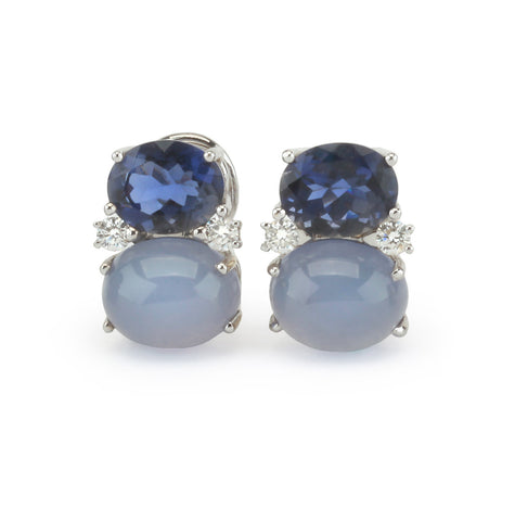 Medium GUM DROP™ Earrings with Iolite and Cabochon Chalcedony and Diamonds