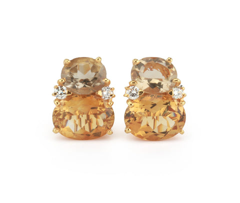 Large 18kt Yellow Gold Gum Drop Earrings with Champagne Quartz and Citrine
