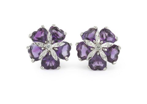 18kt White Gold Sand Dollar Earring with Amethyst and Diamonds