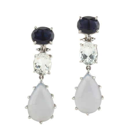 18kt White Gold Three Stone Drop Earring with Iolite, Rock Crystal, and Chalcedony