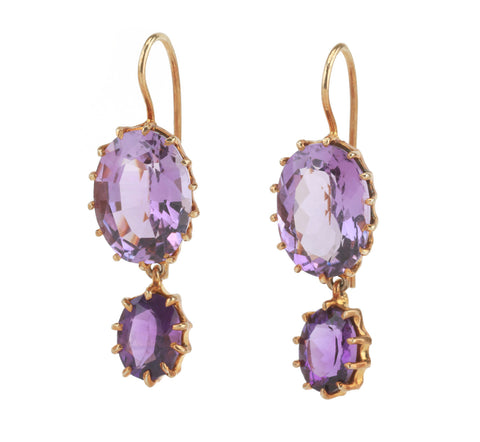 18kt Yellow Gold Multi Prong Amethyst Drop Earrings