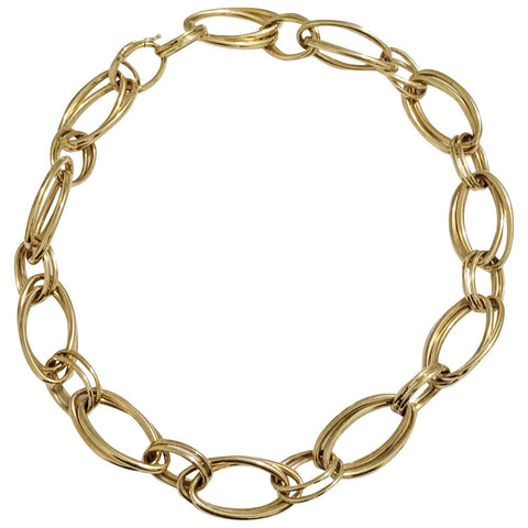 Gold Marquise Double Link Necklace