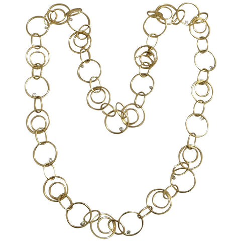 Yellow Gold Circles and Floating Diamond Chain Necklace
