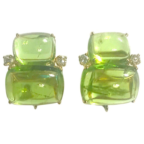 18Kt Yellow Gold Cushion Cut Cabochon Peridot Earrings with Diamonds